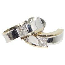 Sleek 14k Two-Tone Diamond Earrings