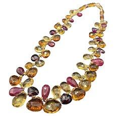 Sparkling 14k Faceted Gemstone Choker Necklace