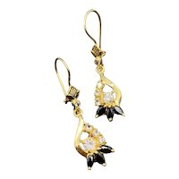 14k Natural Sapphire Dangle CZ Earrings