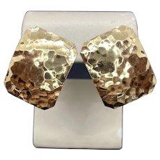 Modern 14k Hammered Stud Earrings