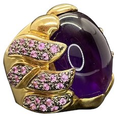 AMAZING 14k Natural Amethyst Sapphire Cocktail Ring