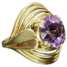 Unique 14k Natural Amethyst Ring