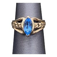 10k Marquise Natural London Blue Topaz Ring