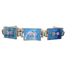 Art Deco Sterling Silver Enamel Flower Bracelet