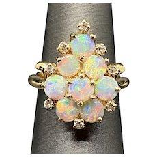 14k Synthetic Opal Diamond Ring
