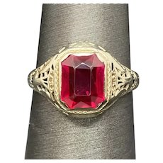 14k Synthetic Ruby Filigree Ring