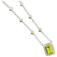 10k Peridot Diamond Necklace