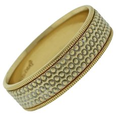 Retro Art Carved 14k Solid White & Yellow Gold Wedding Band Ring