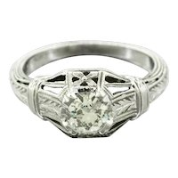 1920s Art Deco 18k White Gold 0.50ctw Diamond Filigree Engagement Ring