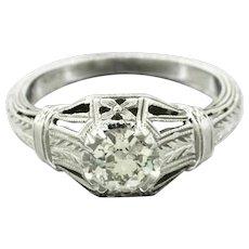 1920s Art Deco 18k White Gold 0.50ctw Diamond Filigree Engagement Ring