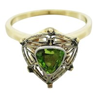 Antique Art Nouveau 14k Solid Yellow & White Gold 0.65ctw Peridot Cocktail Ring