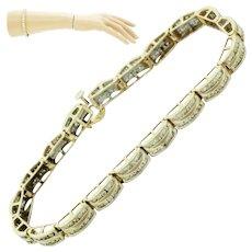 1950s Retro 14k Solid Yellow Gold 3.80ctw Diamond Tennis Bracelet