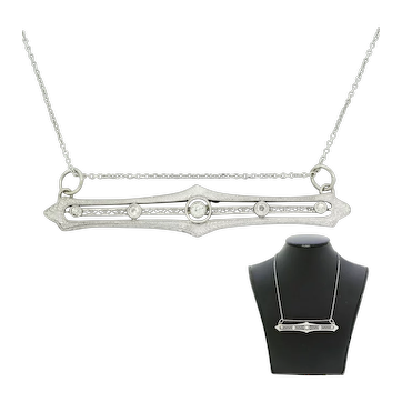 "1930s Art Deco 14k White Gold 18"" 0.45ctw Diamond Filigree Bar Necklace"