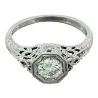 1920s Art Deco Platinum 0.75ct Diamond Filigree Engagement Ring