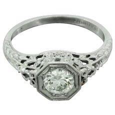 1920s Art Deco Platinum 0.75ct Diamond Filigree Engagement Ring