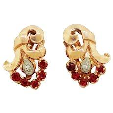 1940s Retro 14k Rose Gold 2.00ctw Ruby & Diamond Bouquet Earrings