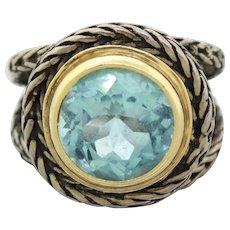 1930s Art Deco Sterling Silver & 14k Gold 6ct Blue Topaz Ring