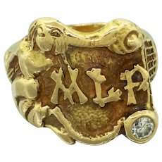 1940s Retro 14k Solid Yellow Gold 0.10ct Diamond MLP Initial Signet Ring