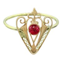 Antique Art Nouveau 14k Rose and Yellow Gold 0.10ct Pink Tourmaline Filigree Cocktail Ring