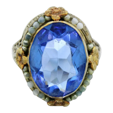 Antique Art Nouveau 14k Solid White & Yellow Gold Blue Stone Filigree Cocktail Ring