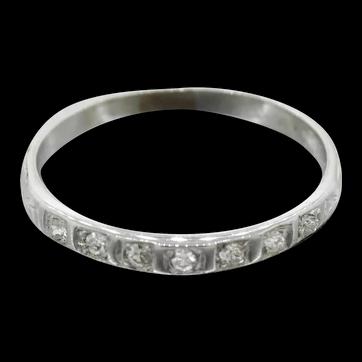 Antique Edwardian 18k Solid White Gold 0.14ctw Diamond Wedding Band Ring