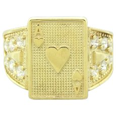 Retro 10k Yellow Gold 0.60ctw Cubic Zirconia Ace of Hearts Signet Ring