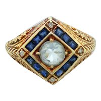 Antique Art Nouveau 14k Solid Yellow Gold 0.50ct Aquamarine, Sapphire, & Diamond Ring