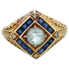 Antique Art Nouveau 14k Solid Yellow Gold 0.50ct Aquamarine, Sapphire, & Diamond Ring