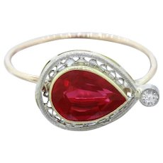 1930s Art Deco 14k Solid Gold 1.25ct Pear Rubellite Pin Conversion Ring