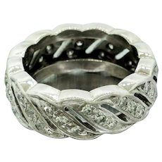 1930s Art Deco 14k Solid White Gold 0.78ctw Diamond Swirl Band Ring