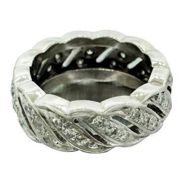 1930s Art Deco 14k Solid White Gold 0.78ctw Diamond Swirl Band Ring