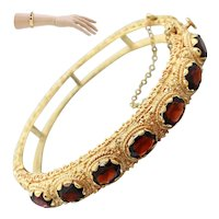1950s Vintage Estate 14k Solid Yellow Gold 9ctw Garnet Ornate Bangle Bracelet