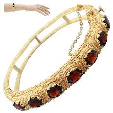 1950s Vintage Estate 14k Solid Yellow Gold 9ctw Garnet Ornate Bangle Bracelet