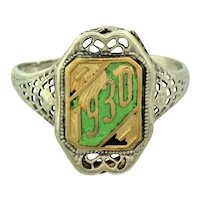 1930 Art Deco 14k White Yellow Gold Filigree Green Enamel Class Ring