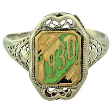 1930 Art Deco 14k White Yellow Gold Filigree Green Enamel Class Ring
