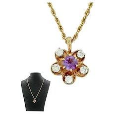 1940s Retro 14k Solid Yellow Gold Amethyst Diamond Flower Pendant Necklace