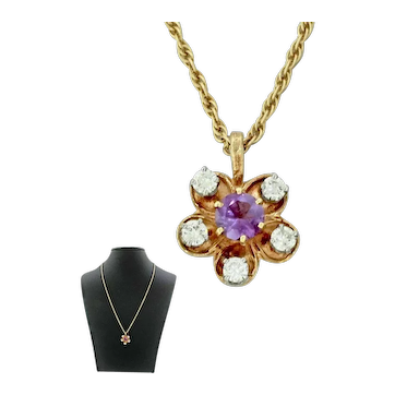 1940s Retro 14k Solid Yellow Gold Amethyst Diamond Flower Pendant Necklace