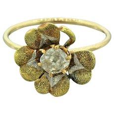 1940s Retro 14k Solid Tri-Color Gold 0.25ct Diamond Four Leaf Clover Ring