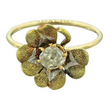 1940s Retro 14k Solid Tri-Color Gold 0.25ct Diamond Four Leaf Clover Ring