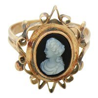 Victorian 12k Solid Rose Gold Cameo Onyx Cocktail Ring