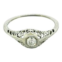 1930s Art Deco 14k Solid White Gold 0.15ctw Diamond Filigree Band Ring