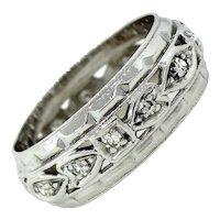 1920s Art Deco 14k Solid White Gold 0.12ctw Diamond Wedding Band Ring