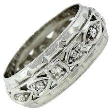 1920s Art Deco 14k Solid White Gold 0.12ctw Diamond Wedding Band Ring