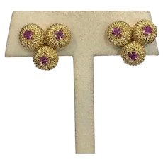 Tiffany & Co. 18K Gold and Ruby Clip On Earrings