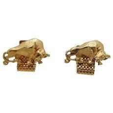 Goldtone Metal Bull Design Cufflinks With Chain