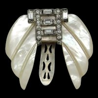 Mother of Pearl Dress Clip With Rhinestones