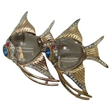 Coro Duette Sterling Jelly Belly Fish Brooch