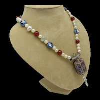 Asian Inspired Bead and Enameled Pendant Necklace