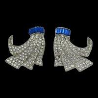 Art Deco Rhinestone Dress Clips - Pair