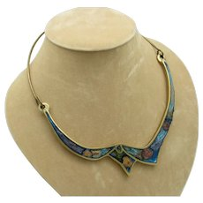 Brass and Mosaic Enamel Hinged Necklace